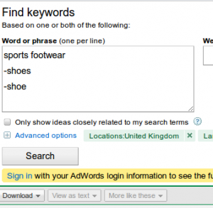 adwords keyword tool negatives